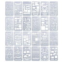 ステンシルテンプレート 描画 スクラップブッキング テンプレート DIYアルバム 絵図 手帳用に 24枚セット