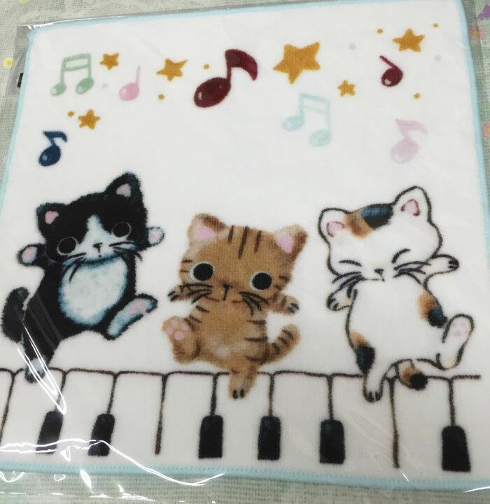 音楽雑貨★やまねこ プリントタオル 三匹猫とピア...の商品画像