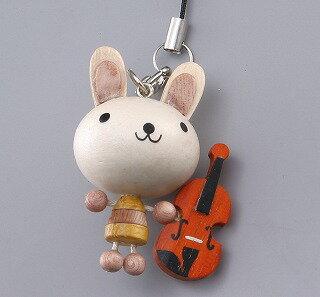 ♪寄木楽器マスコットストラップ  うさぎ