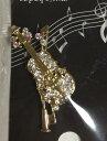 ◎★ラインストーンMUSICバッチ ブローチ  72532-2 バイオリン /GD AIDA AD1015-03 音楽雑貨