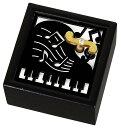 ◎音楽雑貨★木製Aメロディ オルゴール 音符とピアノ ブラック DT1010-01