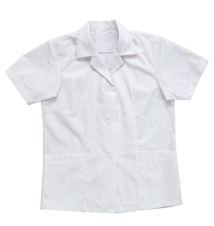 12000 女性用半袖襟付き白衣【SMT】