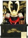 【五月人形 送料無料】祐月作 会津塗「京」大鍬形 着用兜 収納飾り 《505》