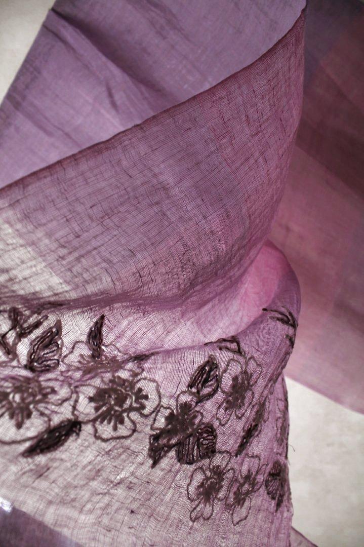 インド リネン 刺繍ストール 植物柄 パープル...の紹介画像3