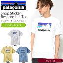 大きいサイズ 半袖Tシャツ Patagonia パタゴニア Mens Shop Sticker Responsibili-Tee メンズ ショップ ステッカー レスポンシビリティー 日本正規品 2018春夏新作 プリント
