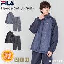 FILA フィラ ウォームアップスーツ メンズ 上下セット 裏フリース ジャケット メンズ レディース カジュアル サイズ お揃い カップル ユニセックス ウィンドブレーカー グレー ネイビー ブラック M L LL outfit ギフト