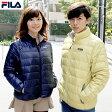 送料無料 FILA フィラ 軽量 ダウンジャケット 軽量ダウン カジュアル 大きいサイズ ライトダウン メンズ レディース ペアルック ショート丈 ブラック ネイビー ベージュ グレー