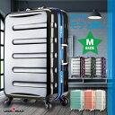 【4月4日1:59までポイント5倍】アウトレット スーツケース キャリーケース キャリーバッグ【送料無料・1年保証付】中型 PC100% 1日2日 TSAロック搭載 細フレーム M サイズ レジェンドウォーカー W-6016-60