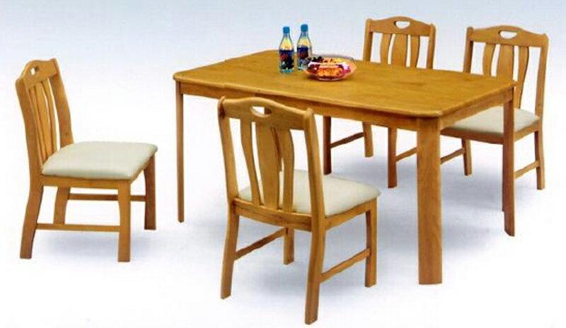 ダイニング5点セット テーブル幅135cm 4人用ダイニングセット 北欧風モダンデザイン天然木ラバーウッド材食卓セット食卓5点セットダイニングテーブル+椅子4脚セット 汚れに強い座面合皮PVCレザー張り ライトブラウン