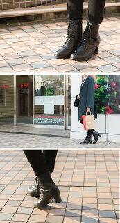 ★送料無料★レースアッププレーンショートブーツレディースヒール美脚2016秋冬ショートブーツ編上げブーツ黒ラウンドトゥ買い回り