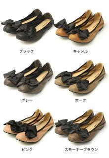 グログランリボン付きフラットヒールパンプス/黒