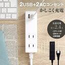 期間限定価格 OAタップ スマートIC搭載 急速充電2.4A出力対応 USBポート×2 2m 200cm USB コンセント 電源タップ 宅C