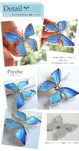 (オーダー品)(Psyche)本物の蝶の羽を使ったアクセサリー4wayブローチ兼ペンダント大きなアゲハ蝶デザインシルバーネックレス(タミラスムラサキツバメ/Silver925/ロジウムメッキ/ゴールドメッキ)[fs04gm]