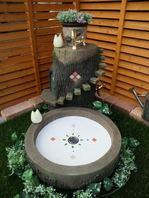 立水栓 水栓柱 立水栓セット切り株の立水栓&シンクセット お庭に癒しの空間を♪【リミット購入】