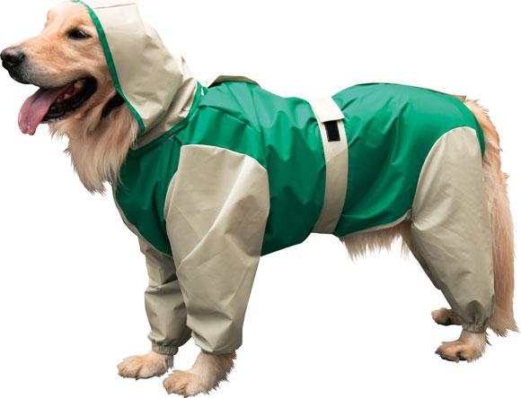 大型犬用レインコート 超はっ水安全コート 【緑×ベージュ】大型犬 レインコート 大型犬 レインコート 超定番!お散歩後のお手入れがグーンと楽になるよ!(レトリバーにぴったり)