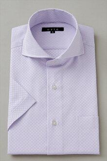 短袖襯衫短袖 Y 襯衫短袖襯衫 CoolMax 臥式混色襯衫緊身剖紫色紫色大尺寸男士襯衫