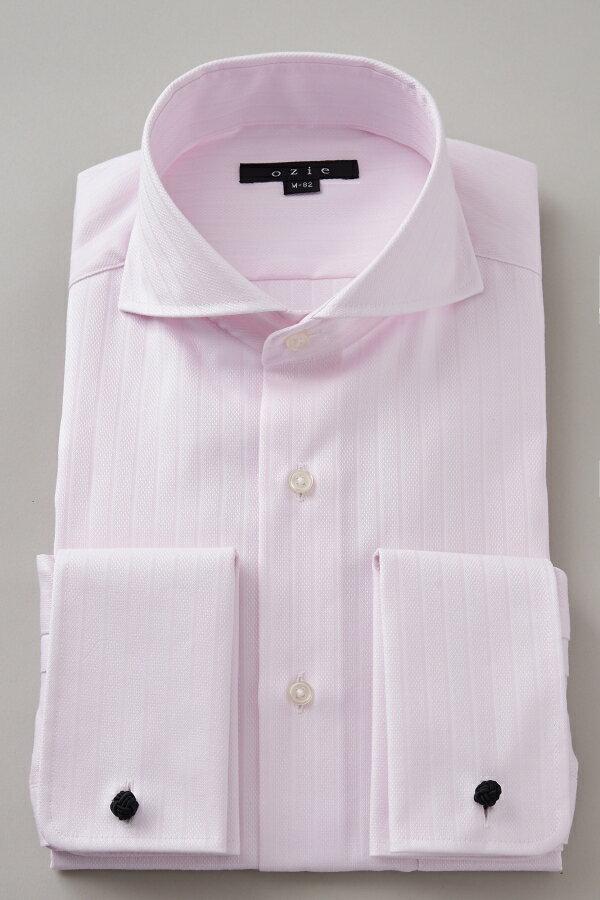 ドレスシャツ 長袖 高級 ワイシャツ タイトフィット |ホリゾンタルカラー シャツ メンズ ダブルカフス カッタウェイ おしゃれ スリム ビジネスシャツ ダブルカフスシャツ カッターシャツ フォーマル オフィス Yシャツ ピンク プレミアムコットン 綿100% 形態安定シャツ