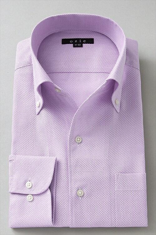 イタリアンカラーシャツ メンズ ドレスシャツ 長袖ワイシャツ スリム細身 タイトフィット プレミアムコットン からみ織り ボタンダウンシャツ ビジネスシャツ カッターシャツ 男性用 おしゃれ オシャレ お洒落 Yシャツ オフィス OZIE ギフト パープル 紫