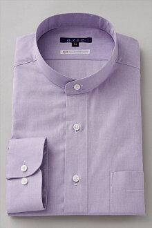 硬領領襯衫 ! 在日本溢價棉 100 張牛津襯衫紫色紫色素色襯衫商務襯衫長袖襯衫立領男裝男式襯衫的禮服襯衫 Y 襯衫專業店辦公禮品 OZIE 長袖襯衫