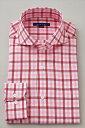 送料無料 ホリゾンタルカラー メンズ ドレスシャツ 長袖 ワイシャツ Yシャツ カジュアル タイトフィット スリムタイプ スリムフィット細身 プレミアムコットン オックスフォード 140番手 チェック ビジネス カッターシャツ おしゃれ レッド 赤 ギフト