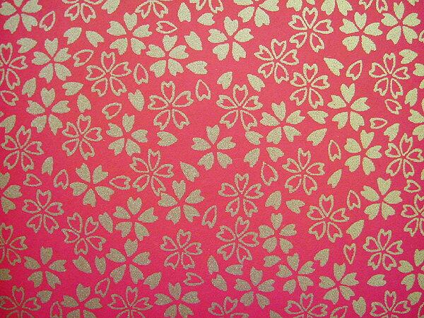 機械漉き友禅紙 赤地に金の小桜 S81の商品画像