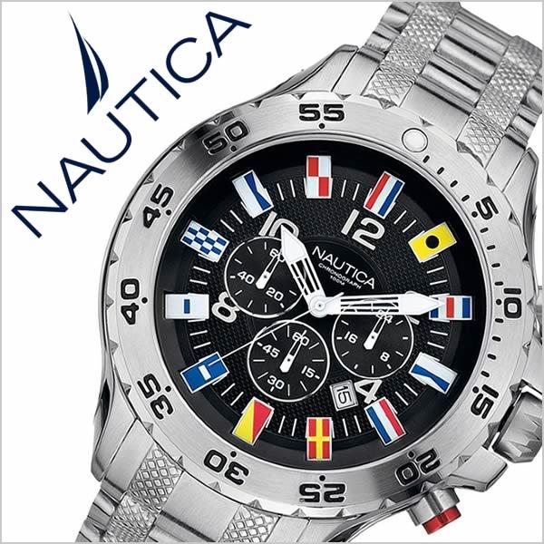 【5年保証対象】ノーティカ 腕時計[ NAUTICA 時計 ]ノーティカ時計[ NAUTICA腕時計 ]NST クロノ フラッグ NST CHRONO FLAG メンズ/ブラック A29512G [アメリカ/サーフィン/マリンスポーツ/新作/防水/アナログ/クロノグラフ/メタル ベルト/ブラック/ブランド][送料無料] ノーティカ 腕時計( NAUTICA 時計 )ノーティカ時計( NAUTICA腕時計 )