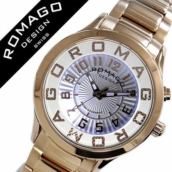 ロマゴ 腕時計[ ROMAGO 時計 ]ロマゴ デザイン 時計[ ROMAGO DESIGN 腕時計 ]ロマゴデザイン ROMAGODESIGN アトラクション ATTRACTION メンズ/レディース/ホワイト RM067-0162SS-RG [おしゃれ/デザイン/文字盤 光る/ブランド/個性派/メタル ベルト/ピンクゴールド][送料無料] ロマゴ 腕時計( ROMAGO 時計 )ロマゴ デザイン 腕時計( ROMAGO DESIGN 時計 )ロマゴデザイン ROMAGODESIGN