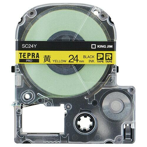 キングジム テプラ PRO テープカートリッジ パステル 24mm 黄/黒文字 SC24Y 1個