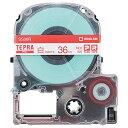キングジム テプラ PRO テープカートリッジ 36mm 白/赤文字 SS36R 1個