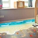 ウォールステッカー 床用 波の砂浜 海 足跡 だまし絵 トリックアート インテリアステッカー リアル 転写 DIY 剥がせる