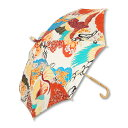 日傘 <百年の鶴/白橙> 【Pagong】 パゴン 京友禅 和柄 レディース 日傘