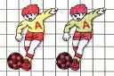 アイロンワッペン サッカー少年 高さ5.4cm前後