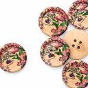 ウッドボタン 花柄 直径25mm前後《 木のボタン 天然素材 ハンドメイド資材 》
