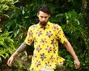 アロハシャツ メンズ(男性用)「Flowers flowing」全3色 半袖 XL 大きいサイズあり 沖縄結婚式にアロハシャツ