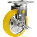 シシク ステンレスキャスター 制電性ウレタン車輪自在ストッパー付(SUNJB150SEUW)