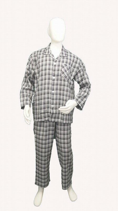 【在庫限り特価】ビエラ地 襟付きパジャマ(グレー)【メンズナイトウェア】