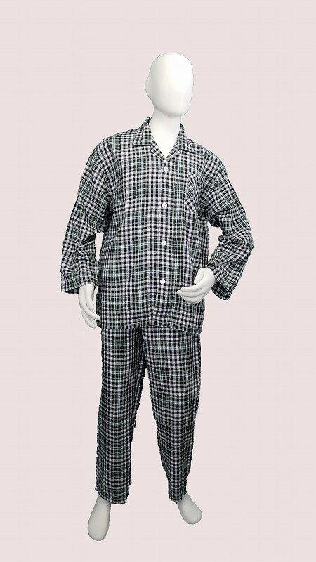 【在庫限り特価】ビエラ地 襟付きパジャマ(グリーン)【メンズナイトウェア】