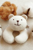 ベビー布おもちゃのガラガラ優しい音色が安心♪笑顔がかわいいクマの布製がらがら オーガニックコットン プリスティン PRISTINE【あす楽対応】