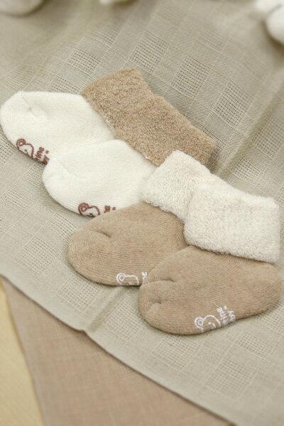 ネコポス可パイルソックス2足セット7-8cm/生後6か月くらいまでふわふわのベビー靴下オーガニックコ