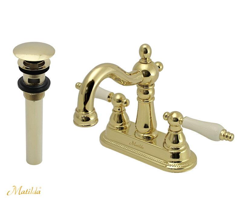 【送料無料♪】【Matildaの水栓】ハーデンネオ(ブラス)排水金具セット(マッシュルーム・プッシュ式)【P11Sep16】 【Matildaの水栓】輸入水栓の風合いの混合栓。