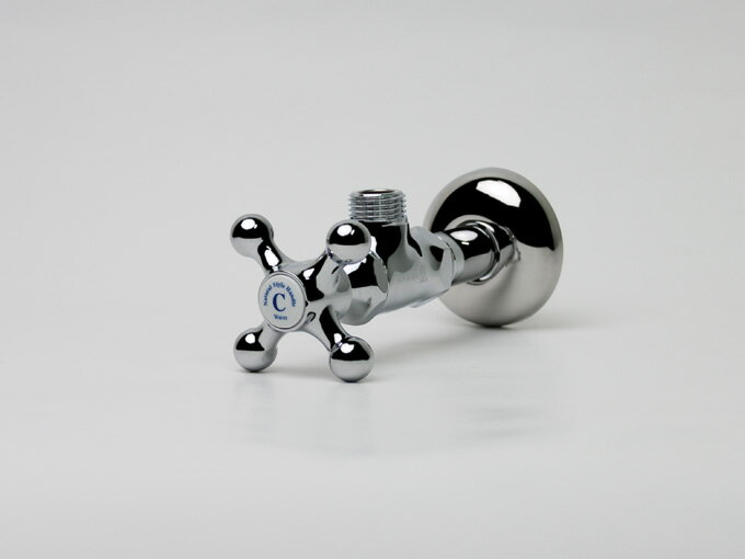クロスアングル止水栓(COLD)|デザイン配管部材