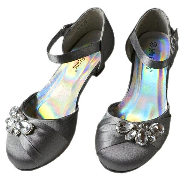 スーパーSALE半額商品フォーマル靴女の子18-23cmグレーシューズ