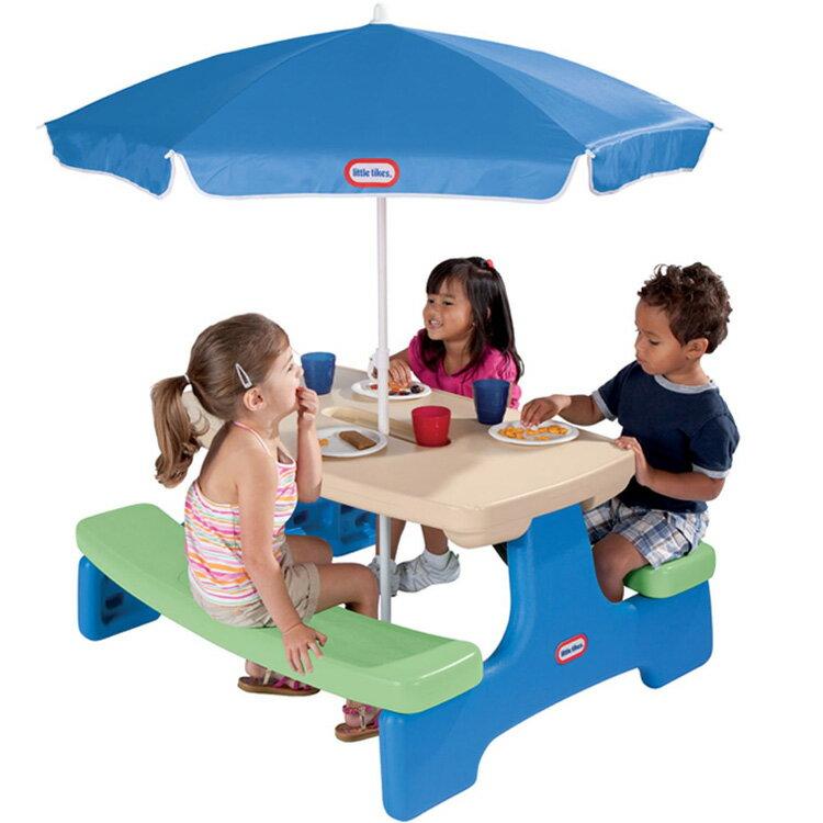 リトルタイクス ピクニックテーブル アンブレラ付き ブルーグリーン /配送区分:超大型