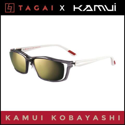 小林可夢偉 (コバヤシカムイ)ドライビング サングラス TAGAI β(ベータ) KAMUI KOBAYASHIグレー×ホワイト/ダークゴールドミラーRMC