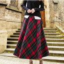 チェックロングフレアースカート/タータンチェック 総丈83cm/レッド系