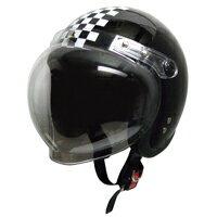 ヘルメット スモール ジェット シールド ブラック チェック