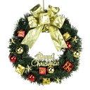 【取寄品】 PVCリース 25cm ゴールドリボンベル&ギフトボール 【 クリスマスリース 玄関 パーティーグッズ デコレーション 壁飾り 装飾 クリスマス飾り クリスマスパーティー 雑貨 ドア飾り 】