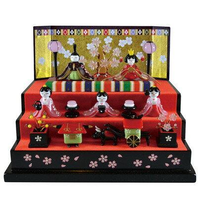 送料無料雛人形ひな人形コンパクトガラス細工桜舞雛三段飾り人形おもちゃ玩具お雛様販促品POPフィギュア