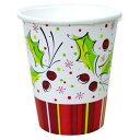 【クリスマス 紙コップ】 ホリーポップ 9オンス紙コップ(266cc/8個入/アメリカ製) 【Xmas/クリスマス/紙製品/パーティ】