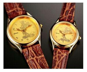 『送料無料』 『ミッキーマウス時計24金仕上げ文字盤腕時計』 プレミアムウォッチ 腕時計 メンズ レディース 牛革 大人のミッキー ポイント10P03Dec16